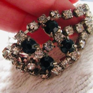 Vintage Triple Row Rhinestone Glass Bracelet